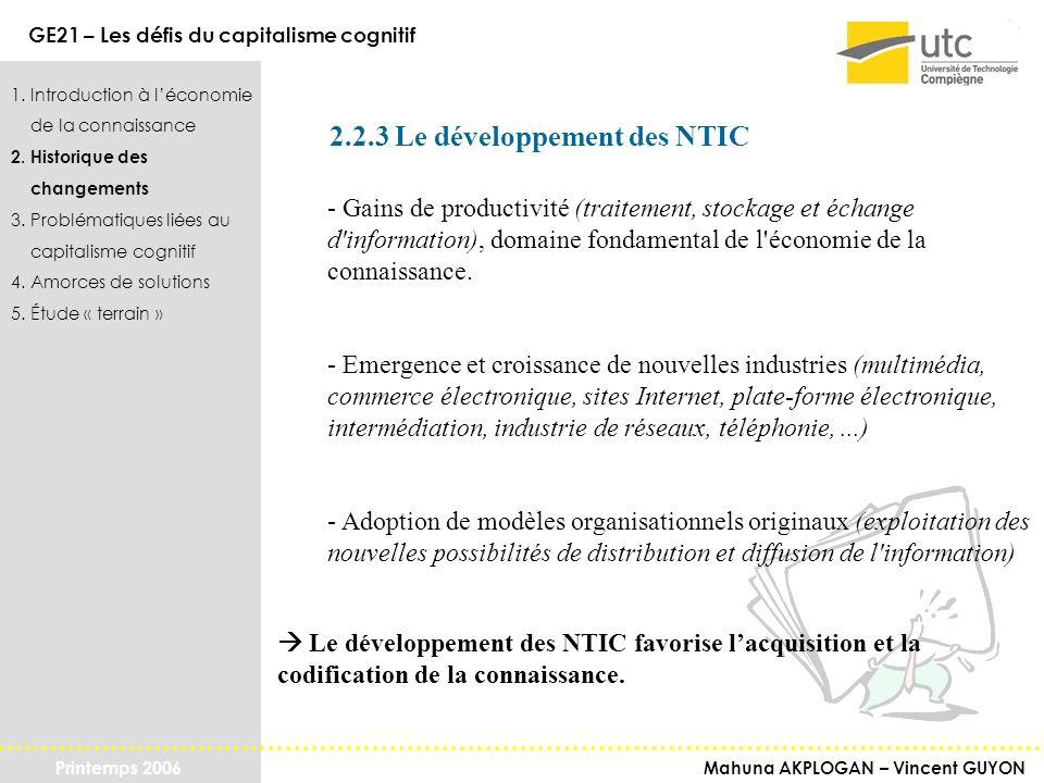 2.2.3 Le développement des NTIC