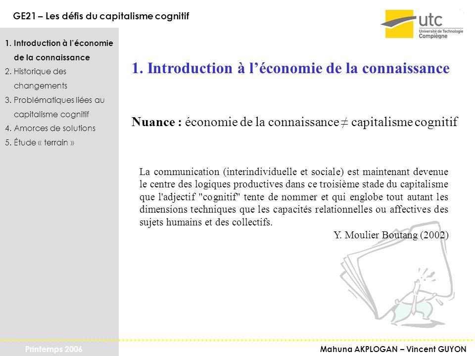 1. Introduction à l'économie de la connaissance