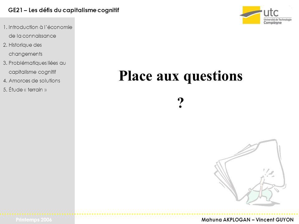 Place aux questions 1. Introduction à l'économie de la connaissance