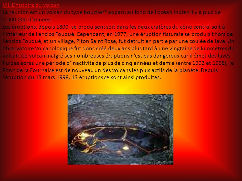 VII. L'histoire du volcan