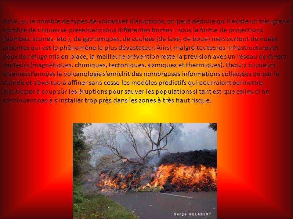 Ainsi, vu le nombre de types de volcans et d'éruptions, on peut déduire qu'il existe un très grand nombre de risques se présentant sous différentes formes : sous la forme de projections (bombes, scories, etc.), de gaz toxiques, de coulées (de lave, de boue) mais surtout de nuées ardentes qui est le phénomène le plus dévastateur.