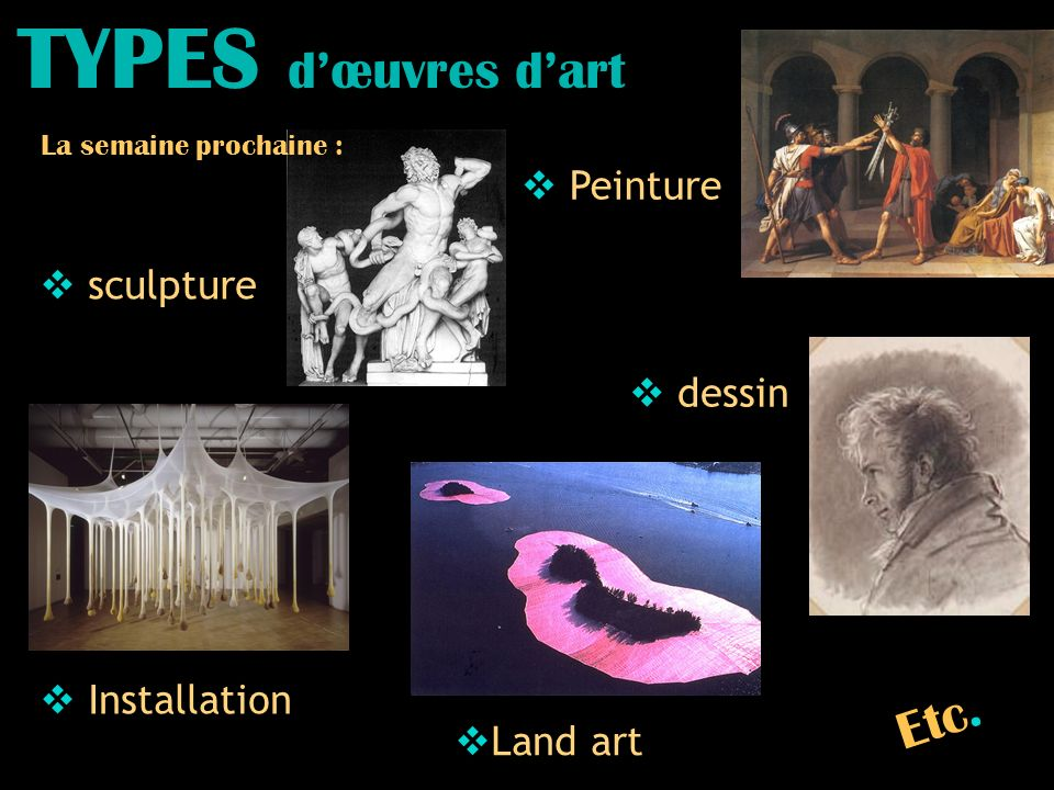 TYPES d'œuvres d'art Etc. Peinture sculpture dessin Installation