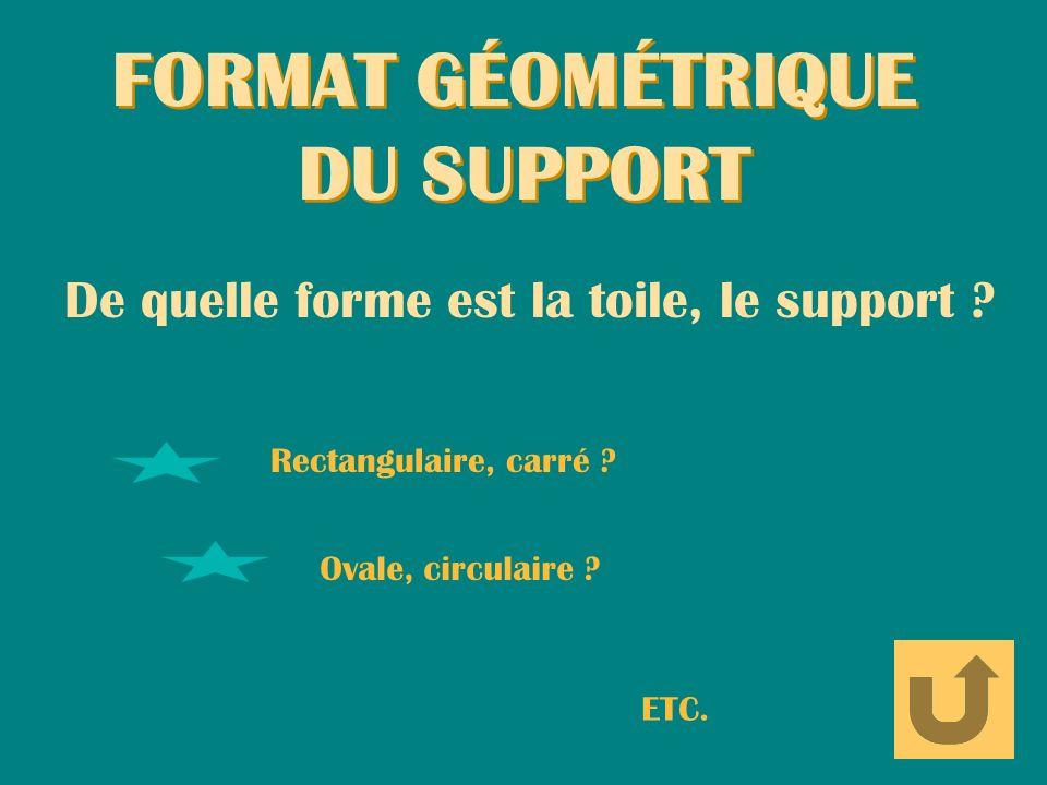 FORMAT GÉOMÉTRIQUE DU SUPPORT