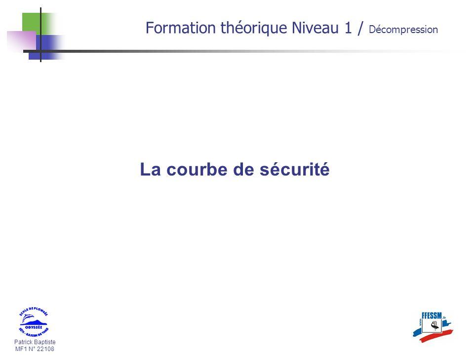 La courbe de sécurité Formation théorique Niveau 1 / Décompression *