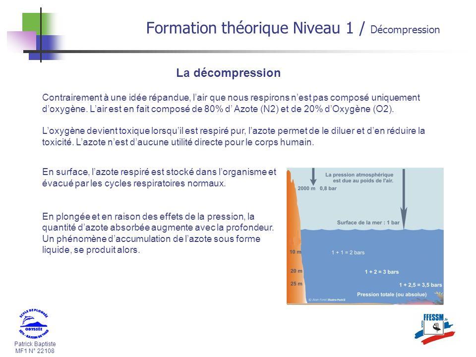 Formation théorique Niveau 1 / Décompression