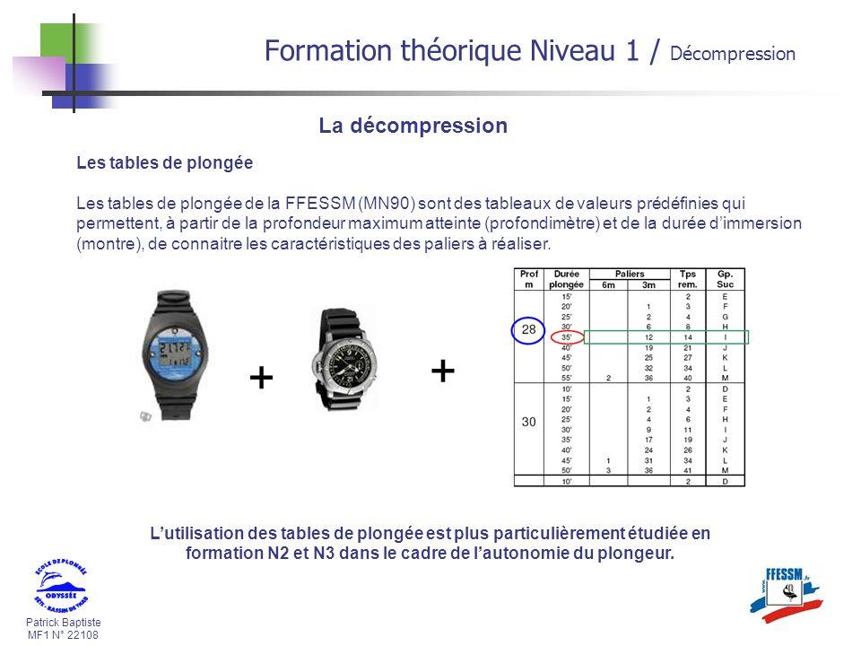 + Formation théorique Niveau 1 / Décompression La décompression