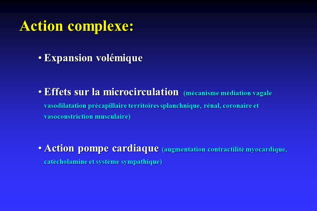 Action complexe: Expansion volémique