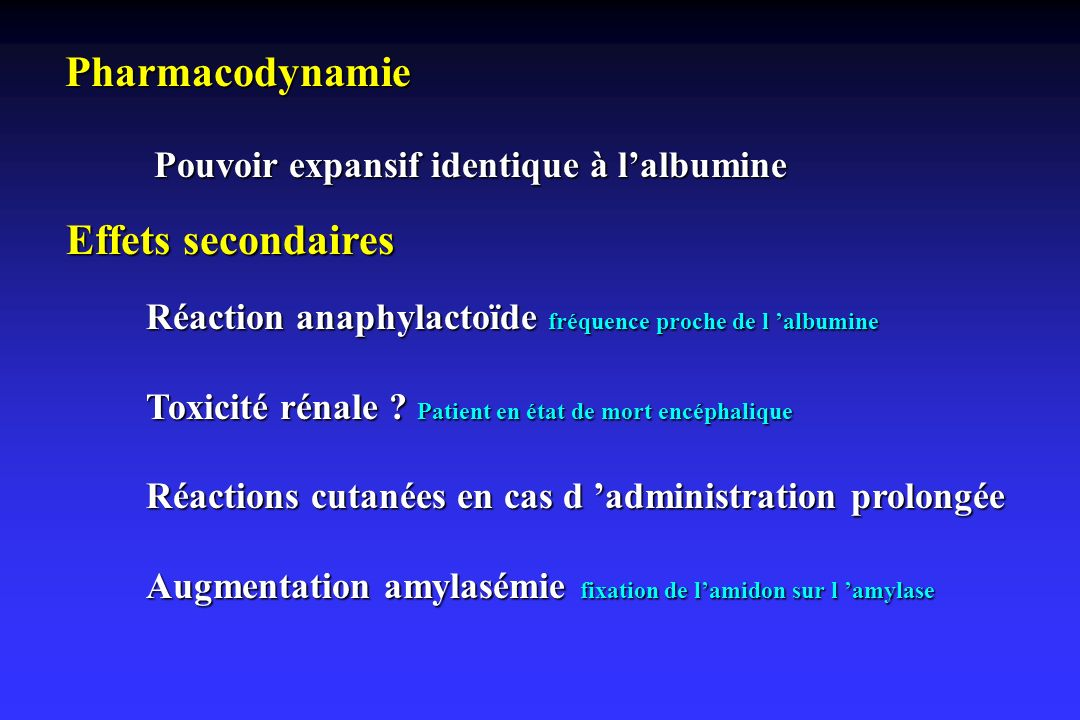 Pharmacodynamie Effets secondaires