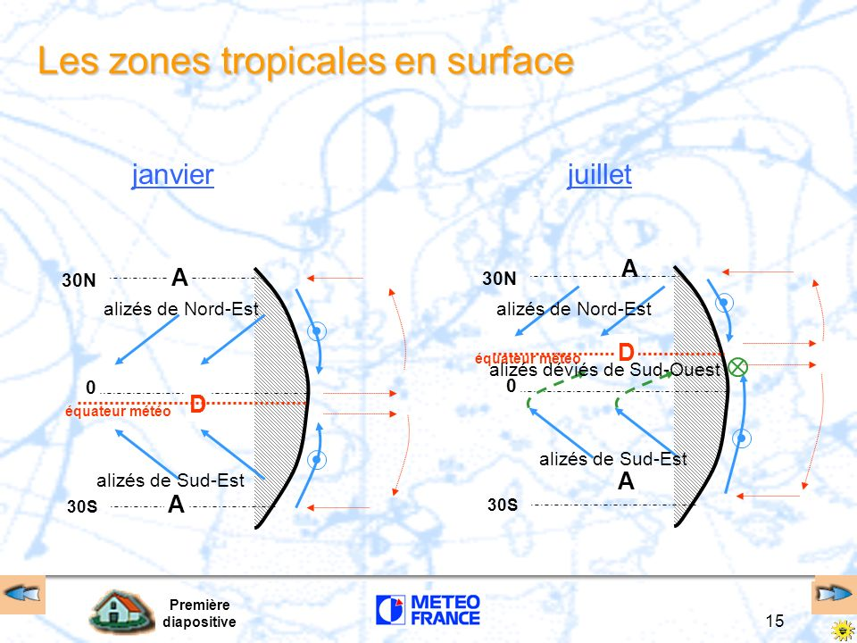 Les zones tropicales en surface
