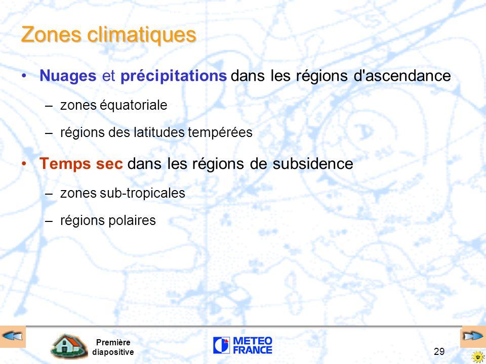 Zones climatiques Nuages et précipitations dans les régions d ascendance. zones équatoriale. régions des latitudes tempérées.