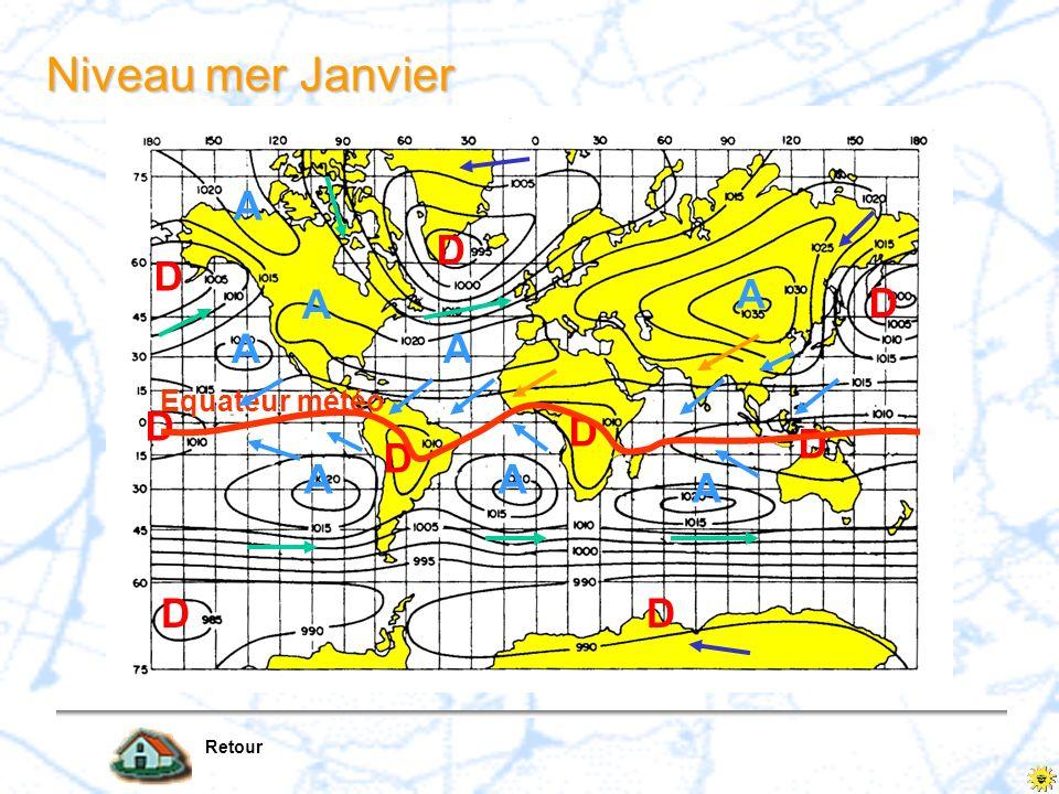 Niveau mer Janvier A D A A Equateur météo D Retour
