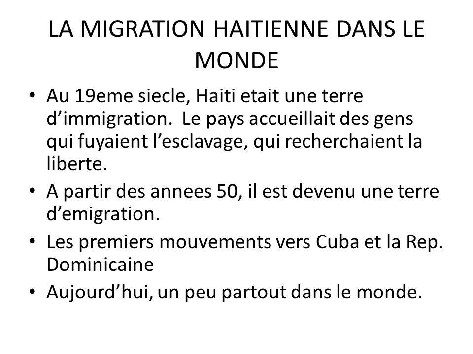 LA MIGRATION HAITIENNE DANS LE MONDE