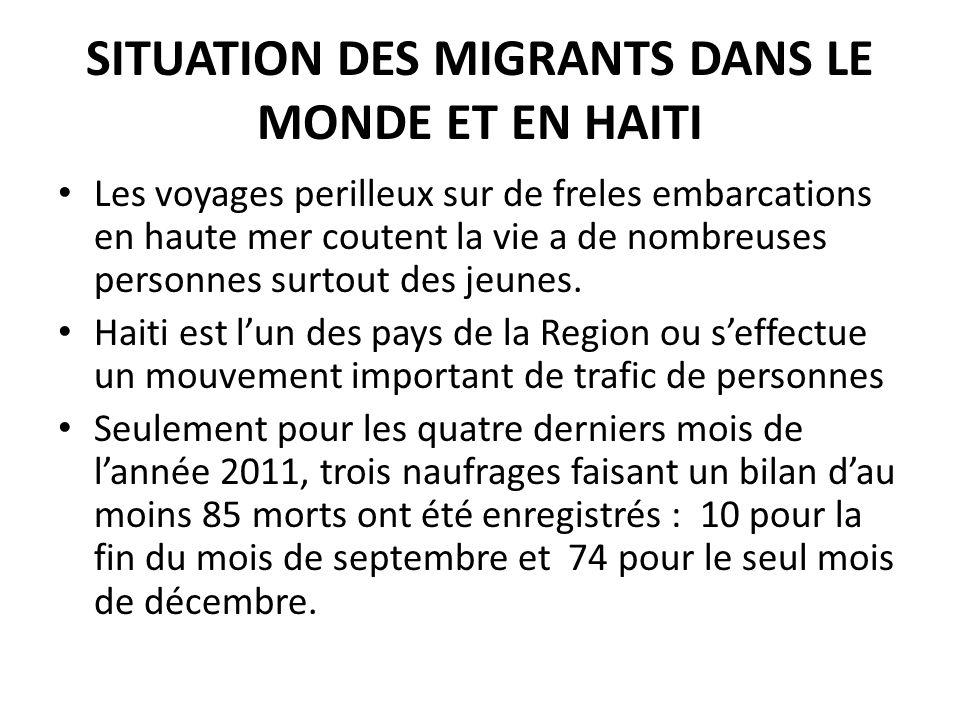SITUATION DES MIGRANTS DANS LE MONDE ET EN HAITI