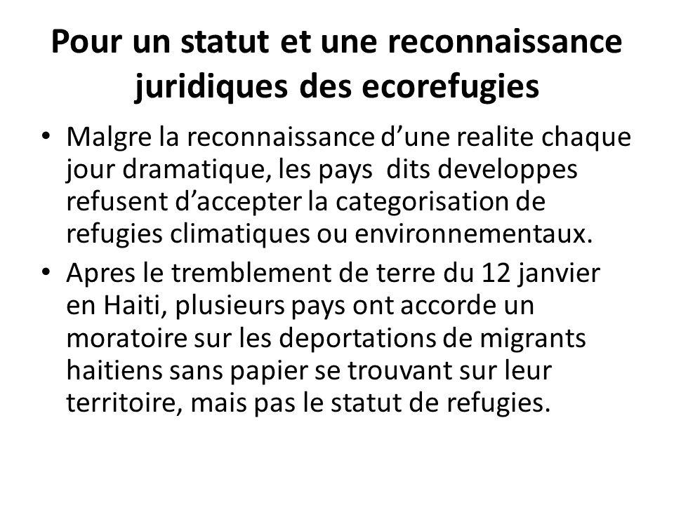 Pour un statut et une reconnaissance juridiques des ecorefugies