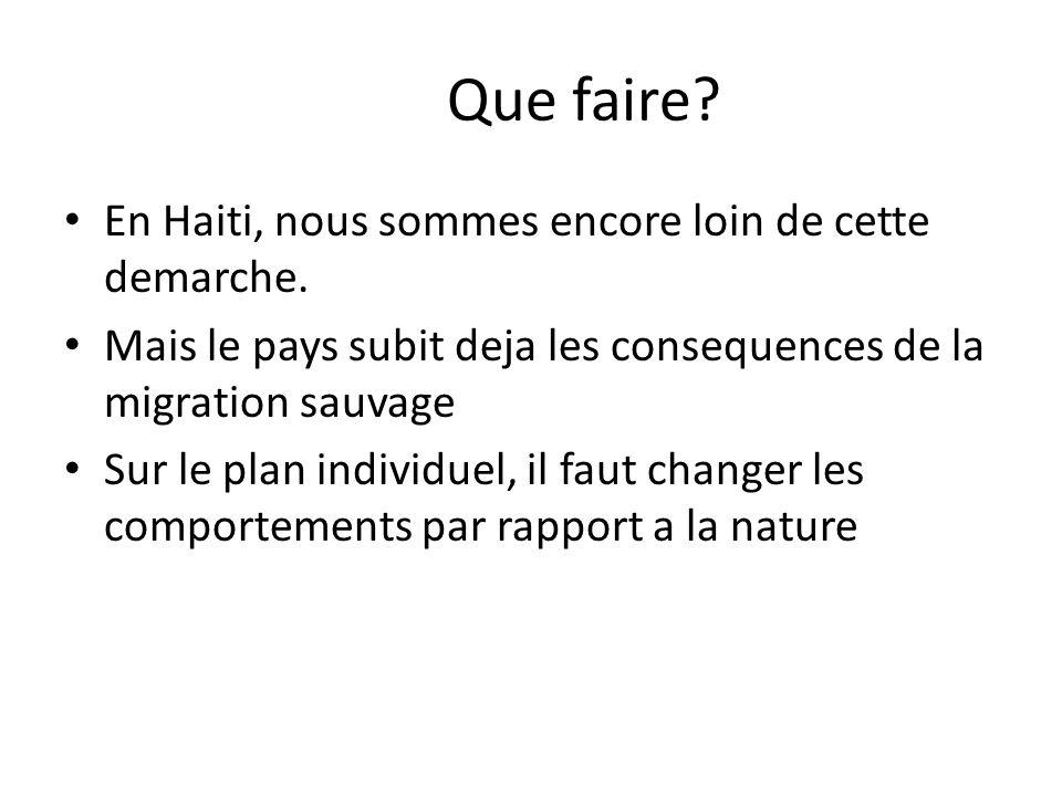 Que faire En Haiti, nous sommes encore loin de cette demarche.