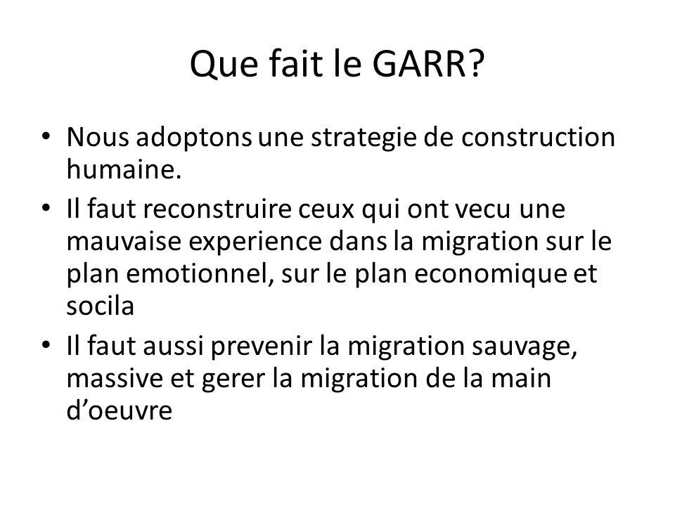 Que fait le GARR Nous adoptons une strategie de construction humaine.