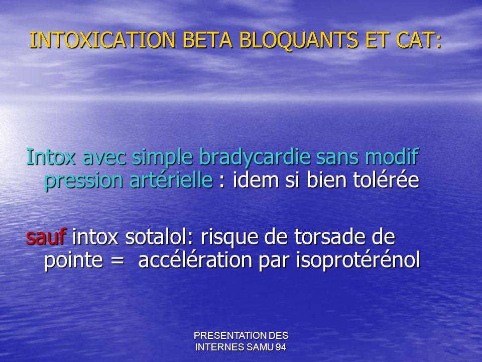 INTOXICATION BETA BLOQUANTS ET CAT: