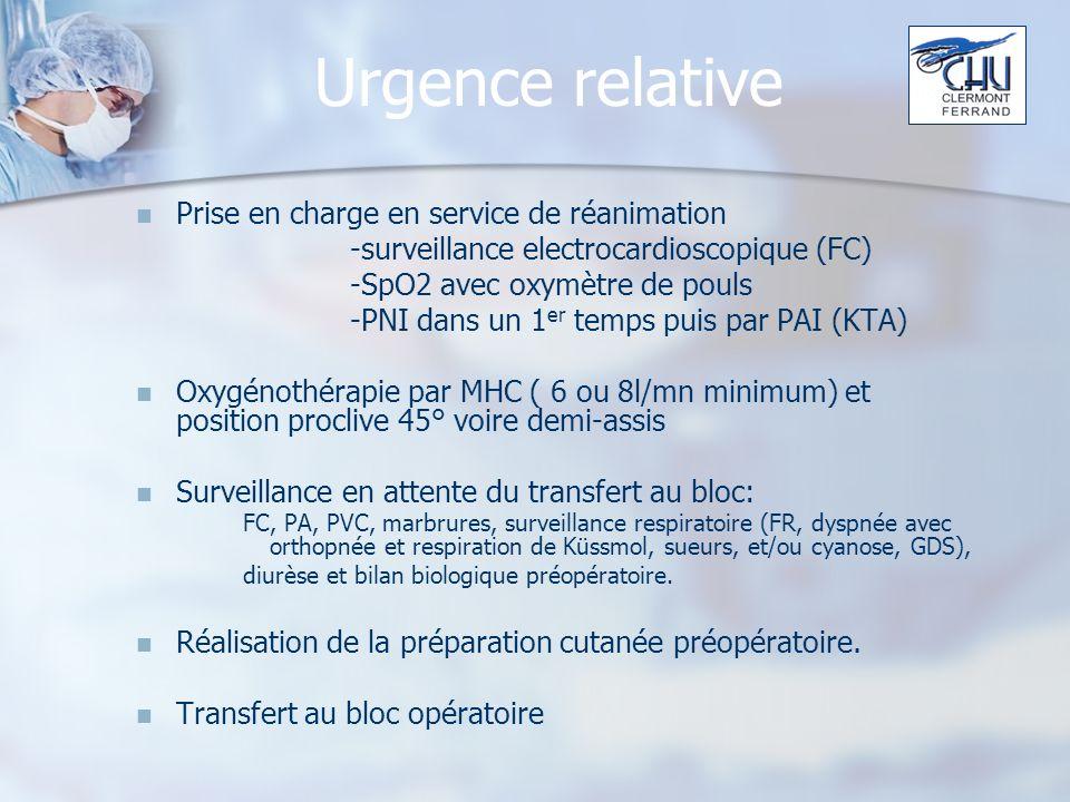 Urgence relative Prise en charge en service de réanimation