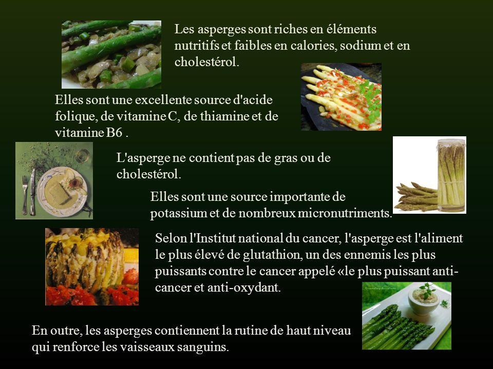 Les asperges sont riches en éléments nutritifs et faibles en calories, sodium et en cholestérol.