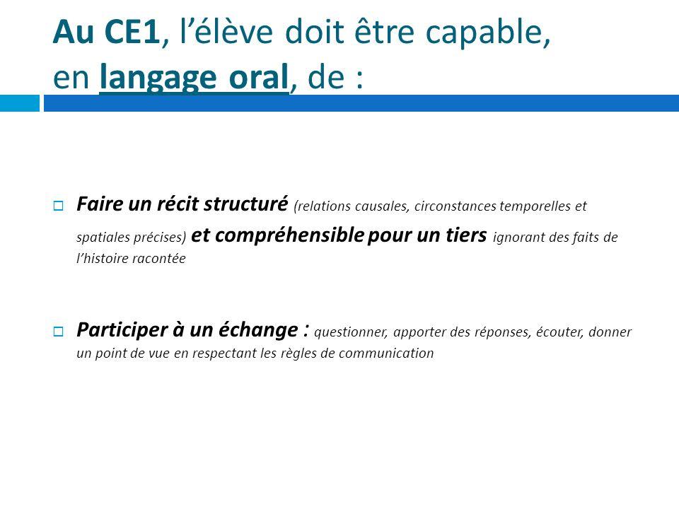 Au CE1, l'élève doit être capable, en langage oral, de :
