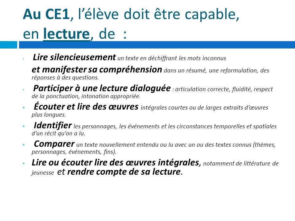Au CE1, l'élève doit être capable, en lecture, de :