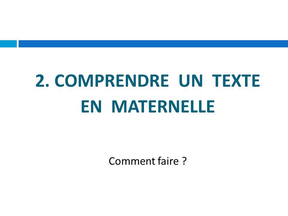 2. COMPRENDRE UN TEXTE EN MATERNELLE