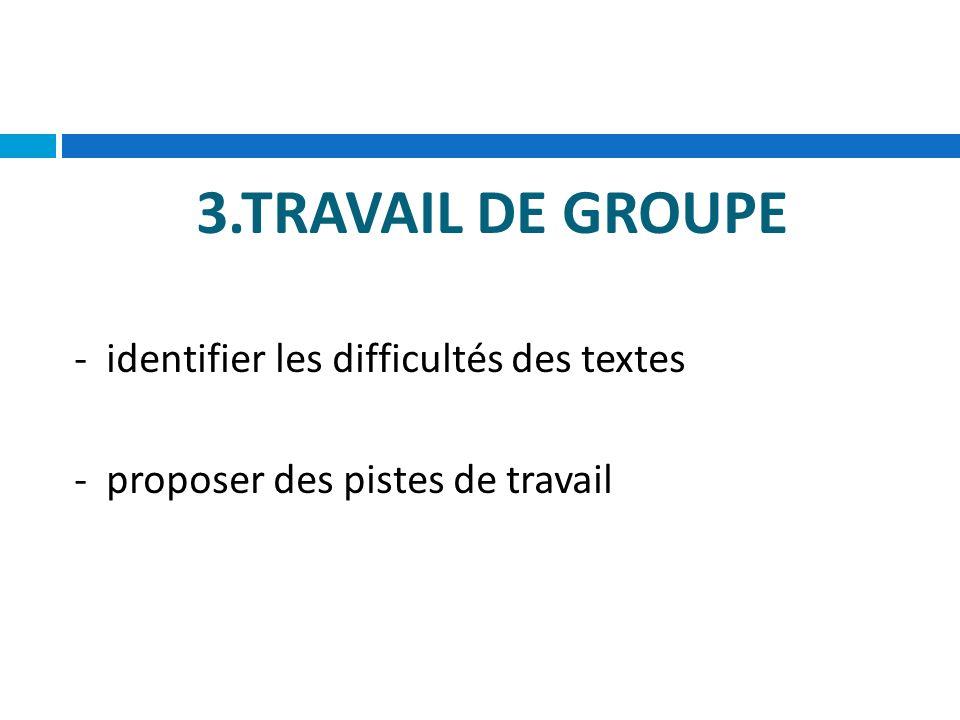 3.TRAVAIL DE GROUPE - identifier les difficultés des textes