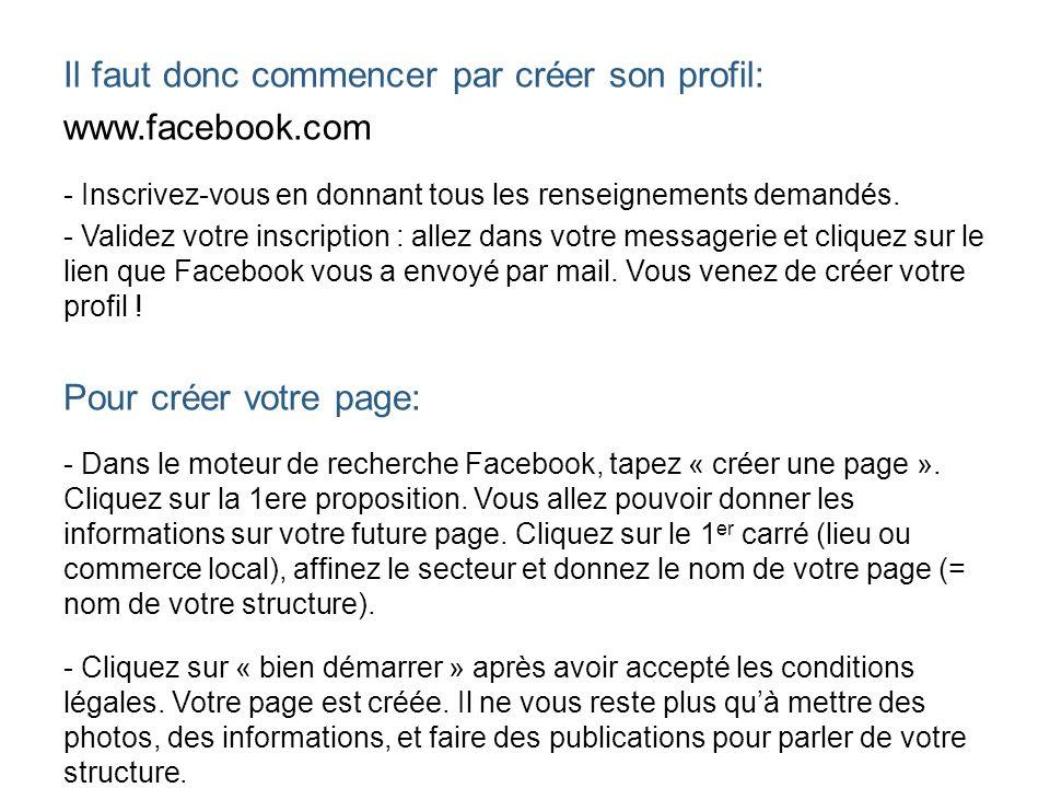Il faut donc commencer par créer son profil: www.facebook.com