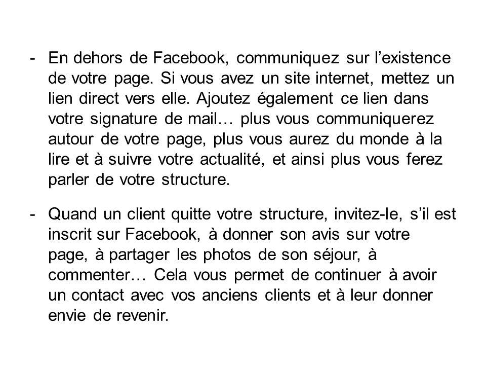 En dehors de Facebook, communiquez sur l'existence de votre page