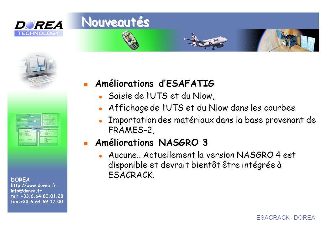 Nouveautés Améliorations d'ESAFATIG Améliorations NASGRO 3