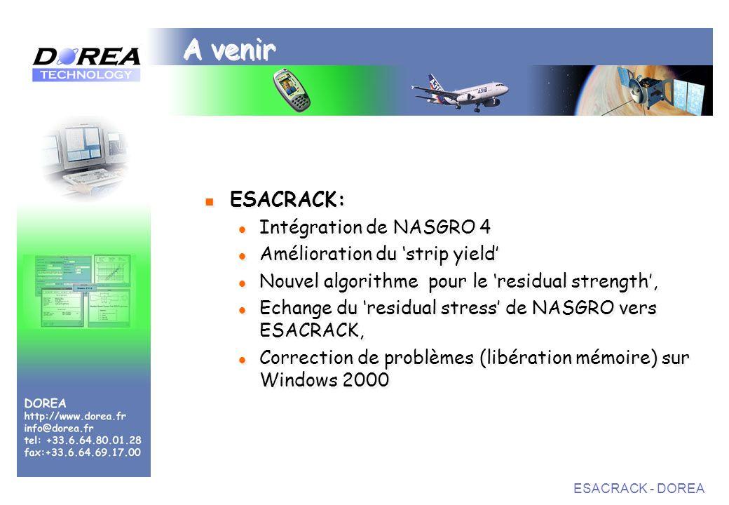 A venir ESACRACK: Intégration de NASGRO 4