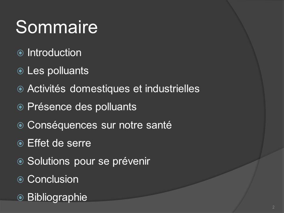 Sommaire Introduction Les polluants