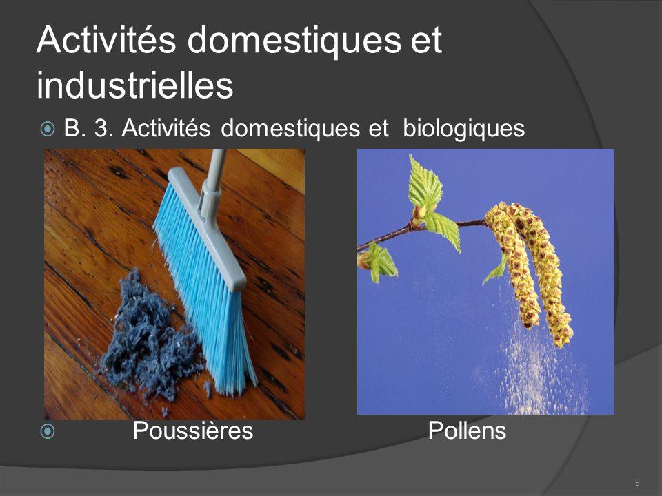 Activités domestiques et industrielles