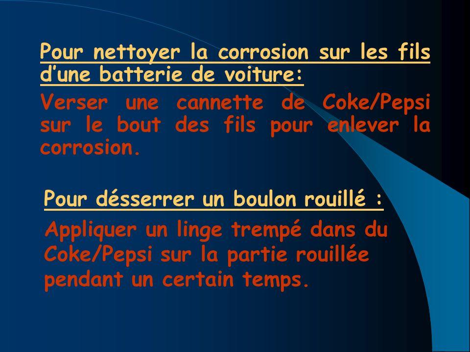 Pour nettoyer la corrosion sur les fils d'une batterie de voiture: