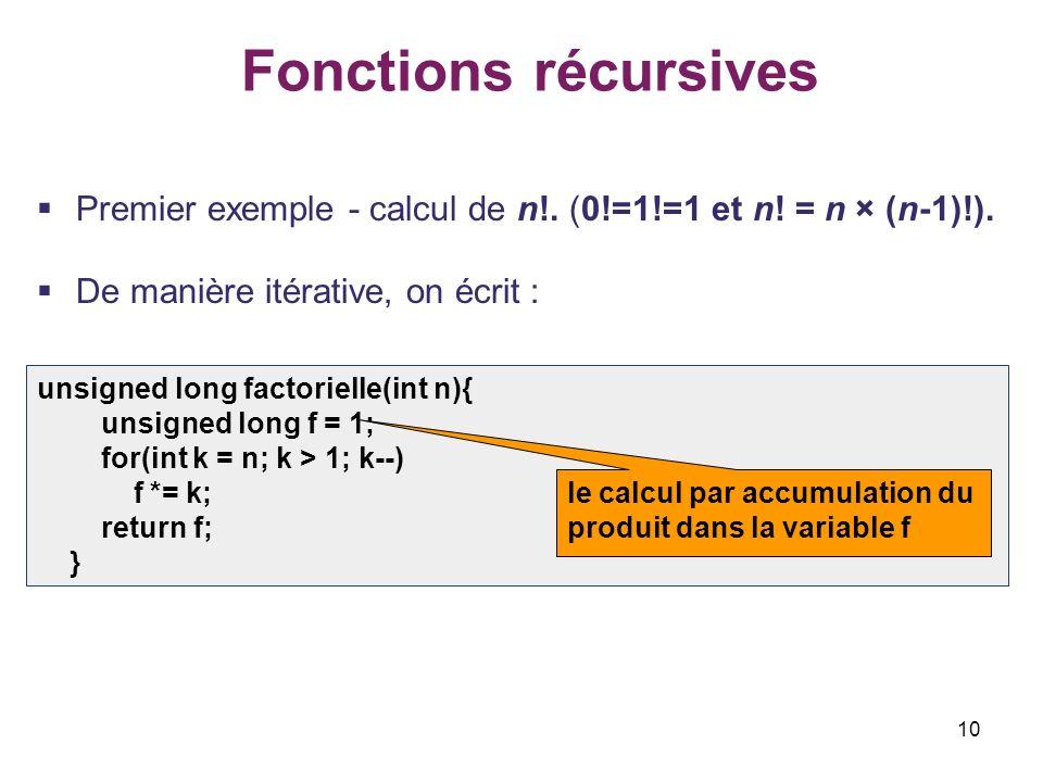 Fonctions récursives Premier exemple - calcul de n!. (0!=1!=1 et n! = n × (n-1)!). De manière itérative, on écrit :