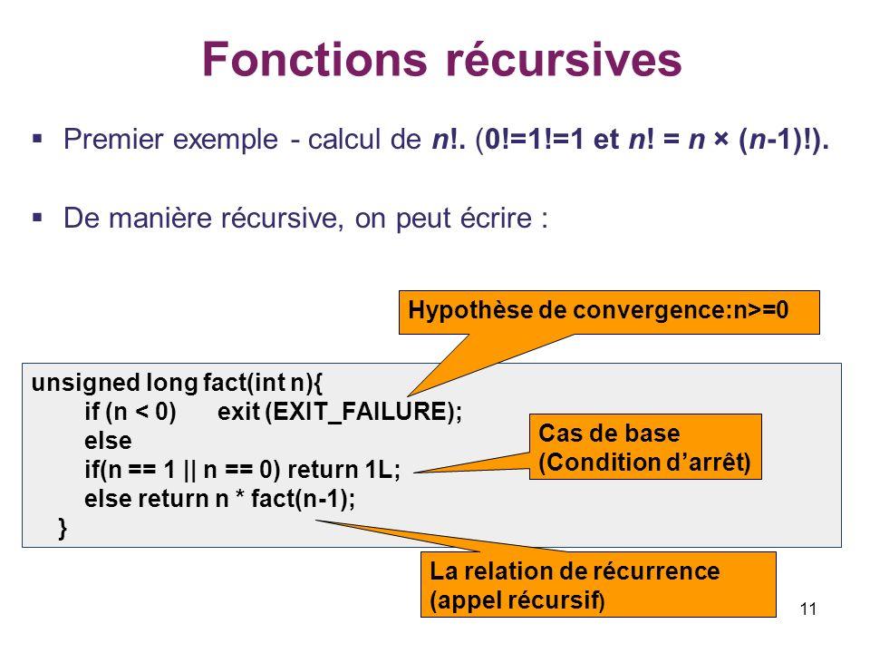 Fonctions récursives Premier exemple - calcul de n!. (0!=1!=1 et n! = n × (n-1)!). De manière récursive, on peut écrire :