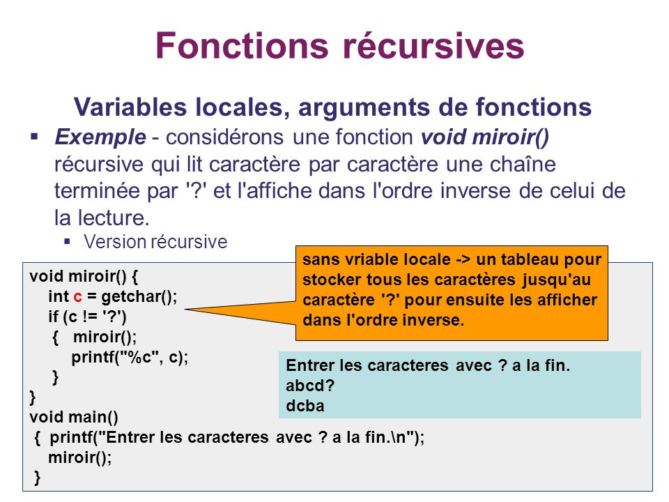 Variables locales, arguments de fonctions