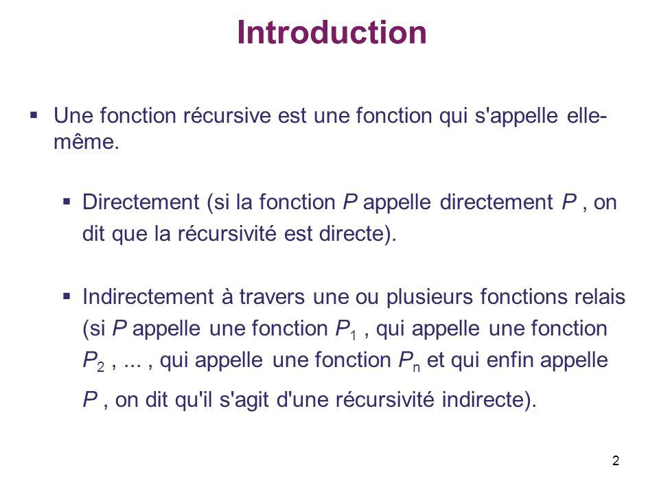 Introduction Une fonction récursive est une fonction qui s appelle elle-même.