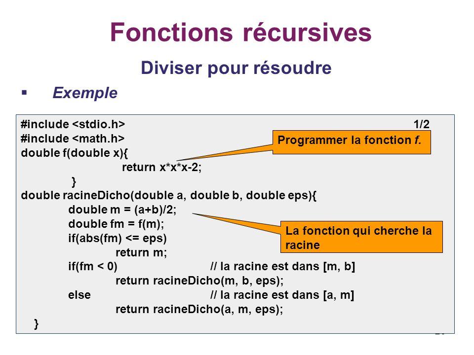 Fonctions récursives Diviser pour résoudre Exemple