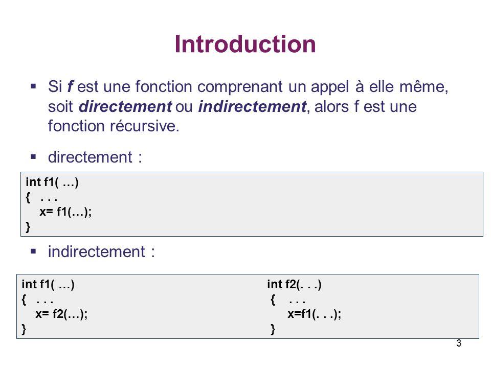 Introduction Si f est une fonction comprenant un appel à elle même, soit directement ou indirectement, alors f est une fonction récursive.