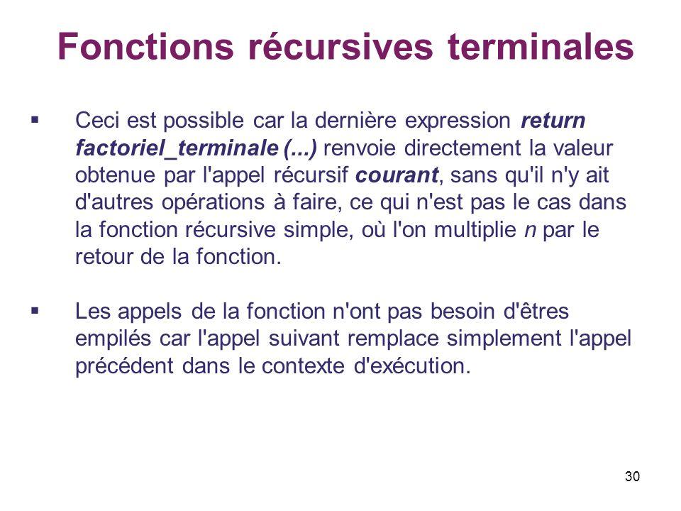Fonctions récursives terminales