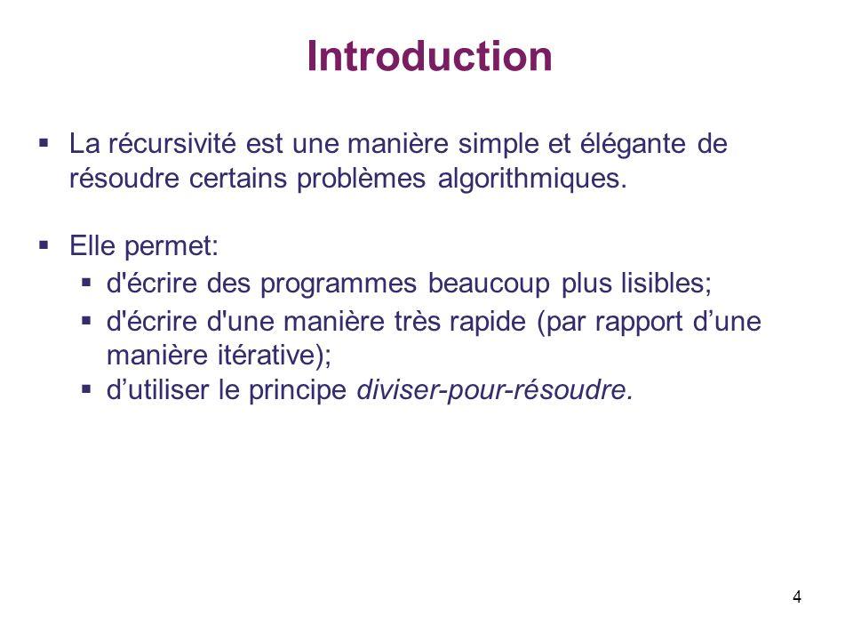 Introduction La récursivité est une manière simple et élégante de résoudre certains problèmes algorithmiques.