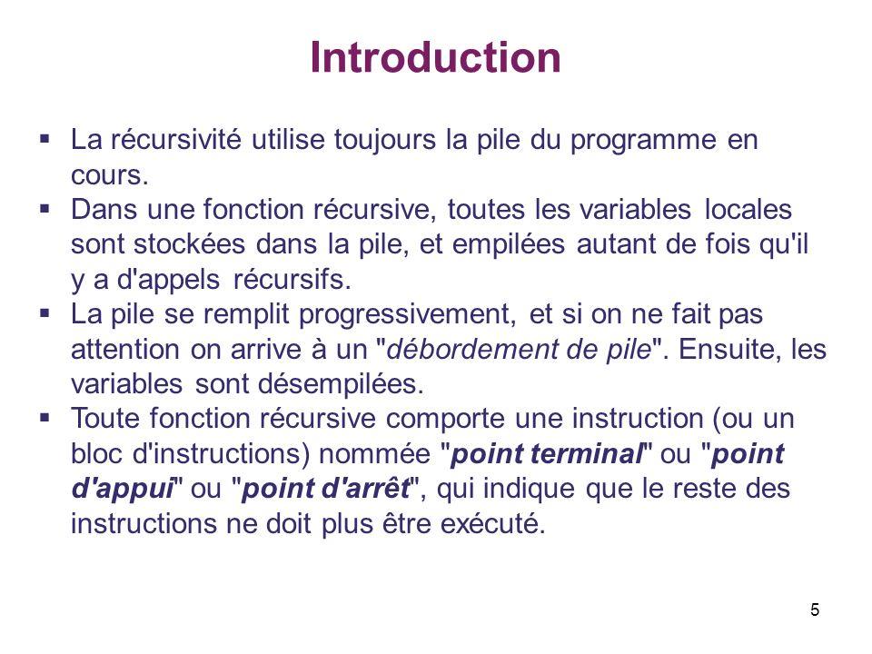 Introduction La récursivité utilise toujours la pile du programme en cours.