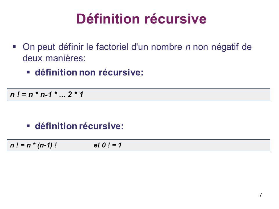 Définition récursive On peut définir le factoriel d un nombre n non négatif de deux manières: définition non récursive: