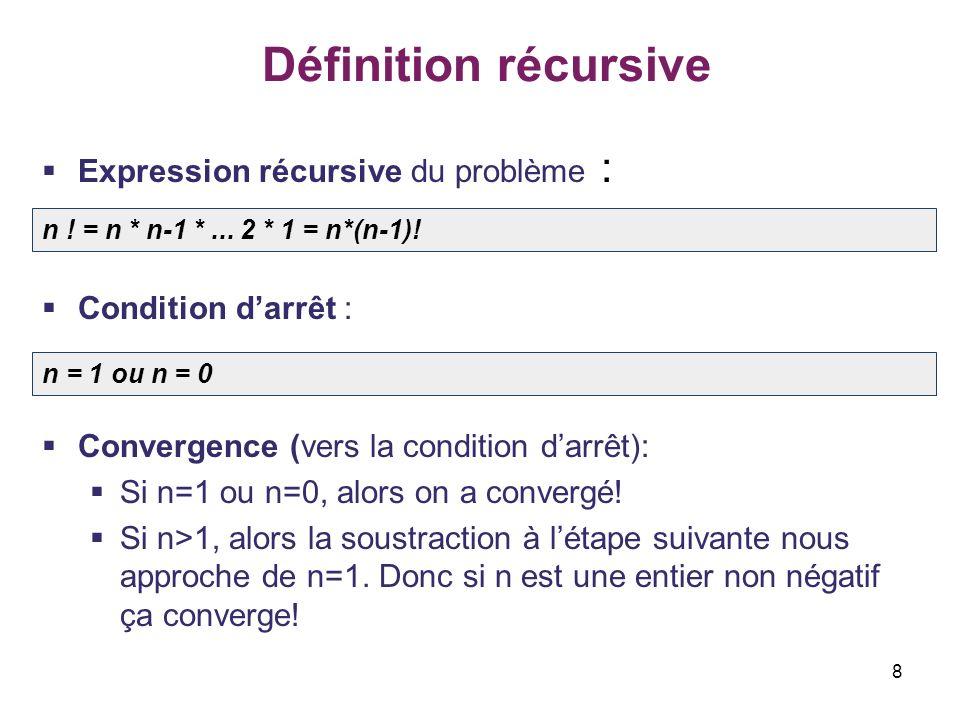 Définition récursive Expression récursive du problème :