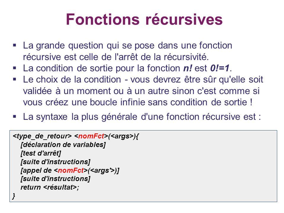 Fonctions récursives La grande question qui se pose dans une fonction récursive est celle de l arrêt de la récursivité.