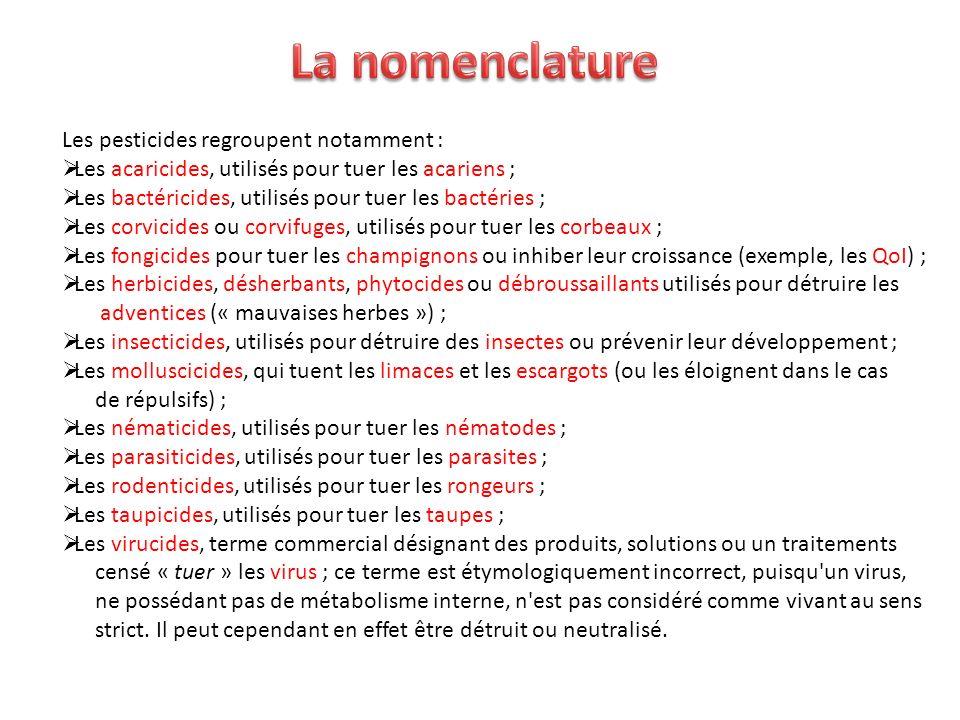 La nomenclature Les pesticides regroupent notamment :