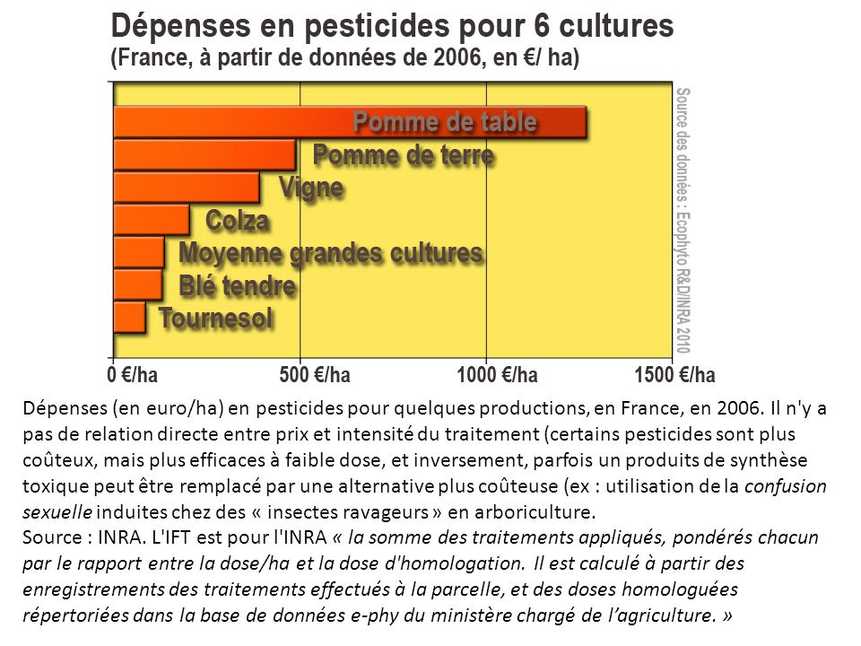 Dépenses (en euro/ha) en pesticides pour quelques productions, en France, en 2006.