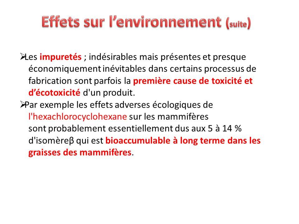 Effets sur l'environnement (suite)