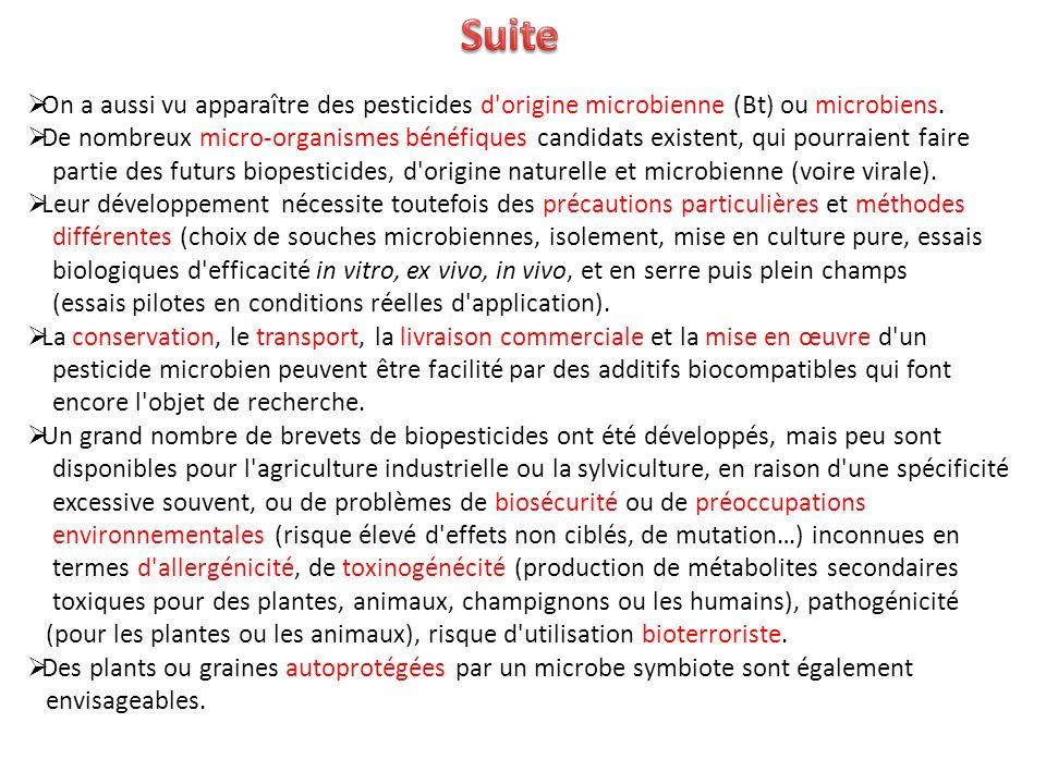 Suite On a aussi vu apparaître des pesticides d origine microbienne (Bt) ou microbiens.